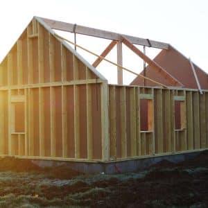 Chantier de construction d'une maison bois