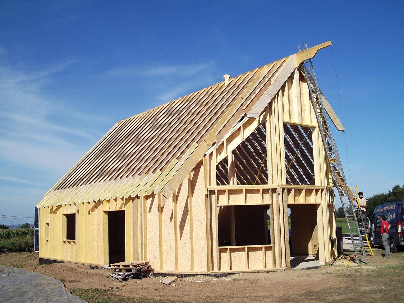 Ossature en bois d 39 une maison bbc - Ossature bois technique ...